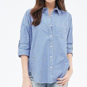 St Johns Bay Blue Striped Button Down Shirt Medium